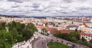 Panoramic view from Fisherman`s Bastion in Budapest city, Hungary. Panoramic view from Fisherman`s Bastion in summertime in Budapest city, Hungary royalty free stock photos