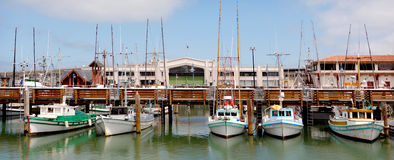 Panoramic view of Fisherman Wharf San Francisco Stock Photos