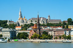 Panoramic view of Fishermen's bastion in Budapest Stock Images