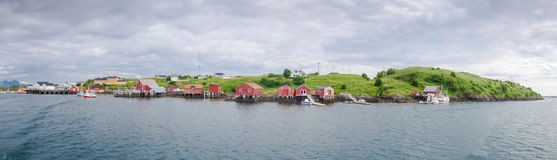 Panoramic view of a fishermen village on an island in Northern N Royalty Free Stock Photography