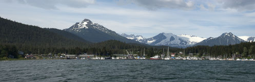 Panoramic View of Fishing Boats Harbor In Alaska Royalty Free Stock Photo