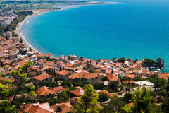 Panoramic view of fishing port in Nafpaktos city Royalty Free Stock Images