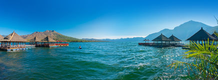 Panoramic view floating restaurant Stock Photo