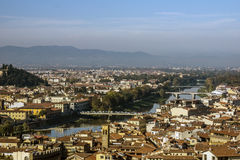 Panoramic view of Florence and the Arno river. Italy, Europe Stock Image
