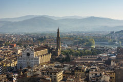 Panoramic view of Florence and The Basilica di Santa Croce in Fl Royalty Free Stock Photos