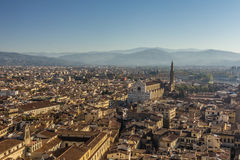 Panoramic view of Florence and The Basilica di Santa Croce in Fl Stock Photo