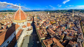 Panoramic view of Florence with Duomo and cupola. Taken from Campanila, Italy royalty free stock image