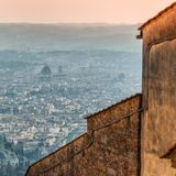 Panoramic view of Florence from Fiesole. Tuscany, Italy Royalty Free Stock Photos