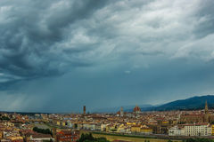 Panoramic view of Florence Italy before storm. Standing on the highest point of Piazzale Michelangelo, you can see the entire Florence, panoramic view of the Stock Images