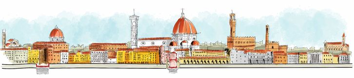 Panoramic view Florence, Lungarno, buildings and churches Royalty Free Stock Images