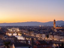 :panoramic view of florence from michelangelo square at golden hour royalty free stock image