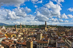 Panoramic view of Florence with Palazzo Vecchio and other landmarks, Tuscany Stock Photos