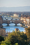Panoramic view of Florence and Ponte Vecchio. royalty free stock image