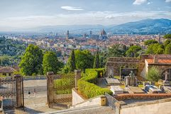 Panoramic view of Florence from San Miniato al Monte Church, Tuscany, Italy. royalty free stock image