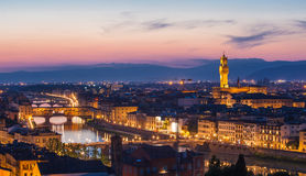 Panoramic view of Florence on a sunset Stock Images