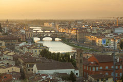 Panoramic view of Florence at sunset, Italy Royalty Free Stock Images