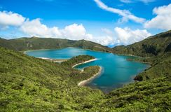 Panoramic view of Fogo lake in Sao Miguel Island, Azores, Portug Royalty Free Stock Image