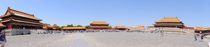 Panoramic view of the Forbidden city in Beijing royalty free stock images