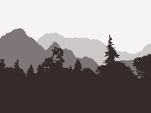 Panoramic view of the forest and mountains Royalty Free Stock Images