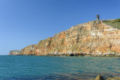 Panoramic view form Kaliakra of the cliff and the Black sea royalty free stock images