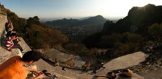 Panoramic view form Tepozteco mountain stock image