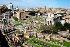 Panoramic View of Foro Romano (Roman Forum),Rome,Italy Stock Photography