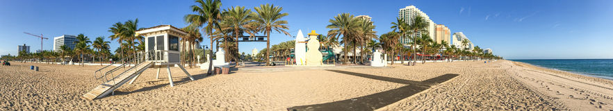 Panoramic view of Fort Lauderdale beach promenade, Florida.  stock photo