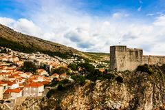 Panoramic view of Fort Lovrijenac and traditional Mediterranean houses with red tiled roofs in Dubrovnik, Dalmatia, Croatia stock photo