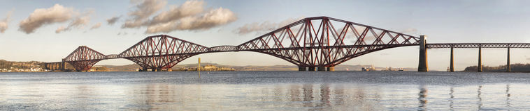 Panoramic view of Forth Rail Bridge Royalty Free Stock Photography
