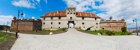 Panoramic view of fortified stronghold of Brasov Stock Photography