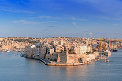 Panoramic view of fortress Grand Harbour in Valletta Royalty Free Stock Photography
