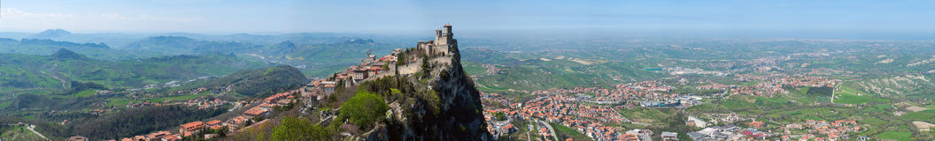 Panoramic view of the fortress of Guaita in San Marino Republic from Cesta tower Stock Photo