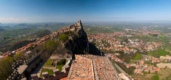 Panoramic view of the fortress of Guaita in San Marino Republic Stock Photography