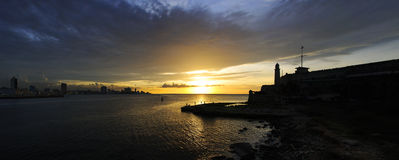 Panoramic view of fortress silhouette in Havana Royalty Free Stock Image