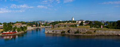 Panoramic view on a fortress of Suomenlinn. In summer day, Helsinki, Finland royalty free stock images