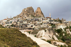 Panoramic view on fortress Uchisar, Cappadocia, Turkey Stock Photography