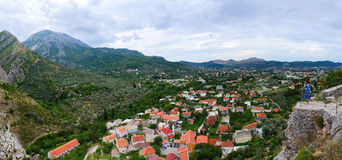 Panoramic view from the fortress wall on Bar, Montenegro Stock Photo