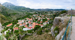 Panoramic view from fortress wall of city Bar in the foothills, Stock Photography