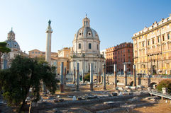 Panoramic view of the forum with the Trajan's Column. Rome, Italy. Stock Image