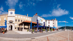 Panoramic view of Frane Petrica square and clock tower in Cres. Croatia Royalty Free Stock Photos