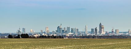Panoramic view of Frankfurt skyline Stock Photography