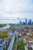Panoramic view of Frankfurt skyline and Romerberg City Hall Squa. Re in Frankfurt in Germany. The Romerberg consists of old houses. Tourists nearby Stock Image
