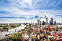 Panoramic view on Frankfurt skyline and Romerberg City Hall Squa. Re in Frankfurt in Germany. The Romerberg consists of old houses. Tourists nearby Stock Photos