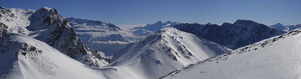 Panoramic view of French Alps Stock Photo
