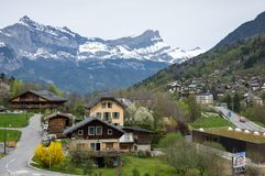 Panoramic view of french Alps and Saint-Gervais-les-Bains. Panoramic view of Saint-Gervais-les-Bains and Alps, the highest and most extensive mountain range royalty free stock photo