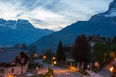 Panoramic view of french Alps and Saint-Gervais-les-Bains. SAINT-GERVAIS-LES-BAINS, FRANCE - APRIL 20, 2016: Panoramic view of Saint-Gervais-les-Bains and Alps royalty free stock photography