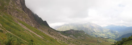 Panoramic view of the french mountains. From the famous Aravis pass - France - The Alps - Panorama Royalty Free Stock Photos