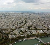 Panoramic View of french palace and houses from Eiffel Tower