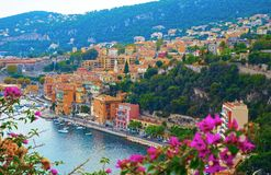 Panoramic view of French Riviera near town of Villefranche-sur-Mer, Menton, Monaco Monte Carlo, Côte d`Azur, French Riviera, Fra. Nce Royalty Free Stock Photography