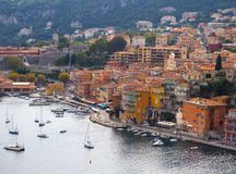 Panoramic view of French Riviera near town of Villefranche-sur-Mer, Menton,Monaco Monte Carlo,Côte d`Azur,French Riviera, France. Panoramic view of French royalty free stock photos